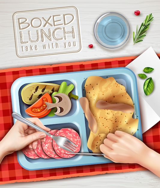 Boxed lunch hands illustration Free Vector