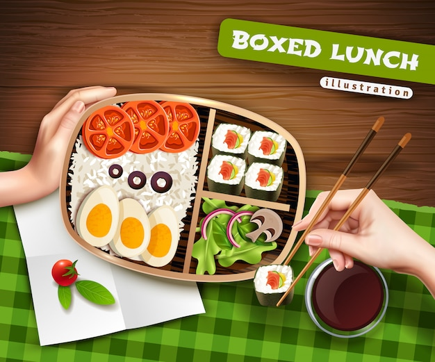 Boxed lunch illustration Free Vector