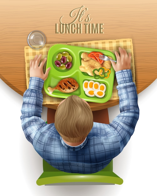 Boxed lunch man illustration Free Vector