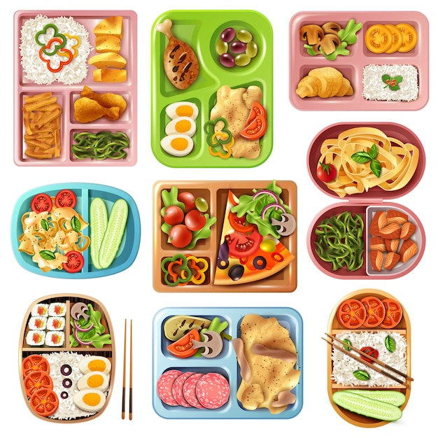 Boxed lunches set Free Vector