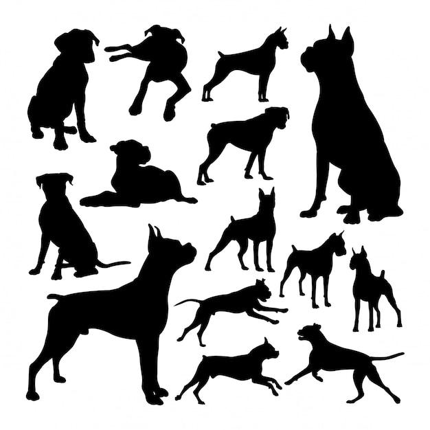 Boxer dog animal silhouettes Premium Vector
