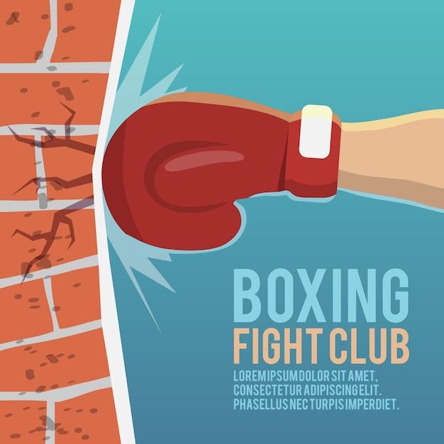 Boxer gloves hitting brick wall cartoon boxing fight club poster vector illustration Free Vector