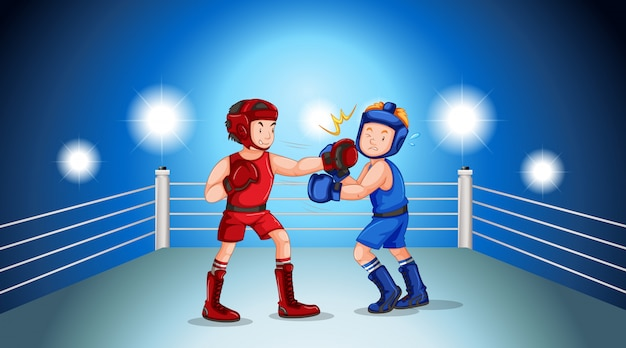 Boxers fighting on the boxing ring Free Vector