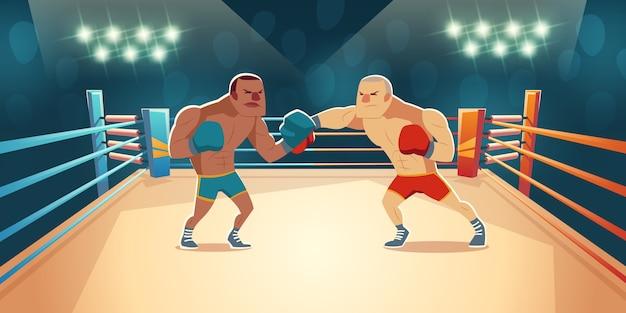 Boxers fighting on ring cartoon illustration Free Vector