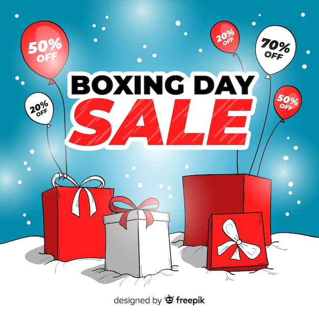 Boxes and balloons boxing day sale background Free Vector