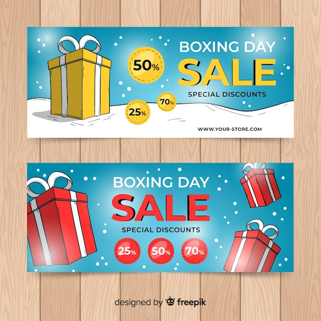 Boxes boxing day sale banner Free Vector