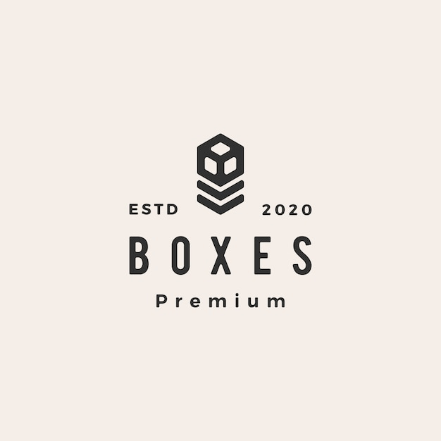 Boxes hipster vintage logo  icon illustration Premium Vector