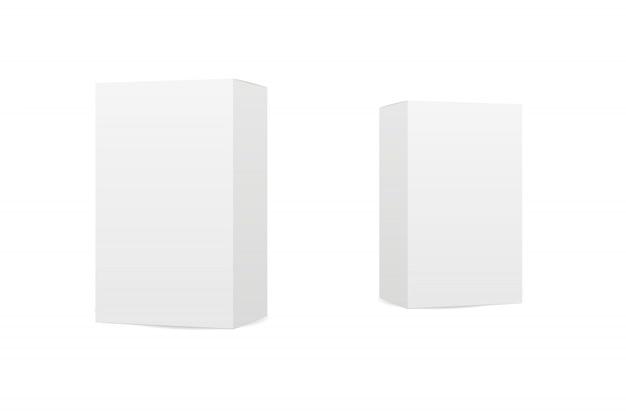 Коробки на белом фоне Premium векторы