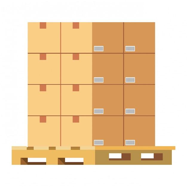Boxes over pallets illustration Premium Vector