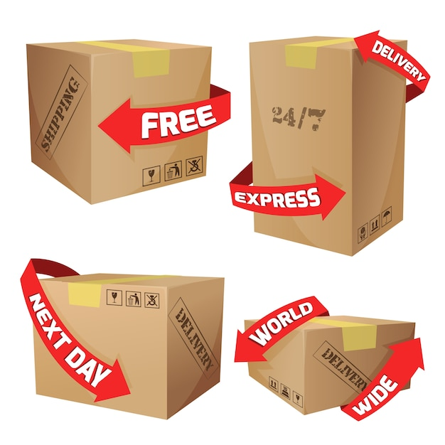Boxes with delivery symbols Free Vector