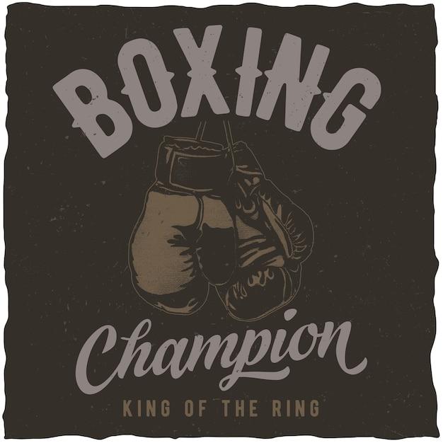 Poster del campionato di boxign Vettore gratuito