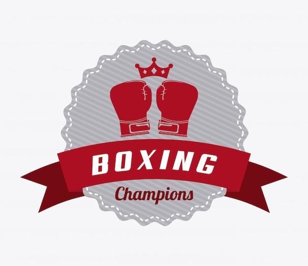 Distintivo di boxe logo design grafico Vettore gratuito