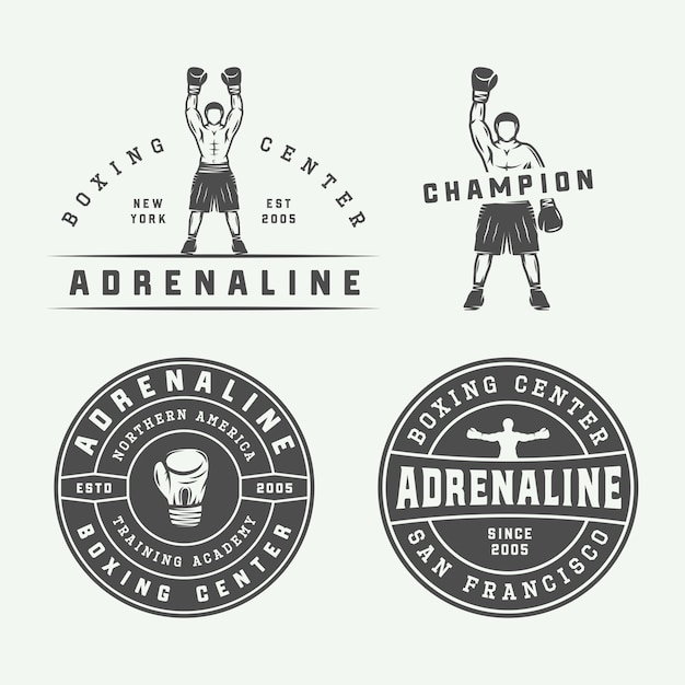 Boxing badges and labels Premium Vector