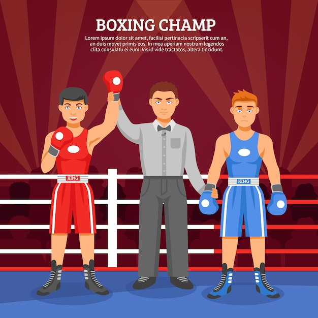 Boxing champ composition Free Vector