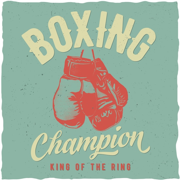 Boxing champion poster Free Vector
