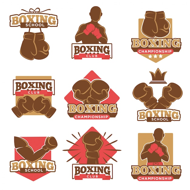 Boxing club or boxer school championship vector icons labels set Premium Vector