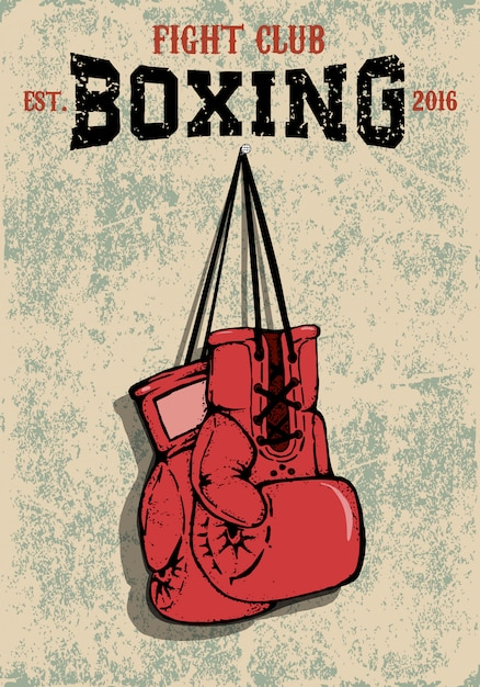 Boxing club emblem. two boxing gloves in grunge style. Premium Vector