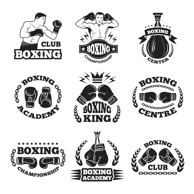 Boxing club, or mma fighting labels. monochrome Premium Vector