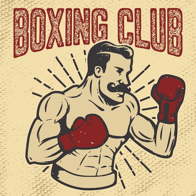 Boxing club. vintage style boxer on grunge background.  element for poster, t-shirt, emblem.  illustration. Premium Vector