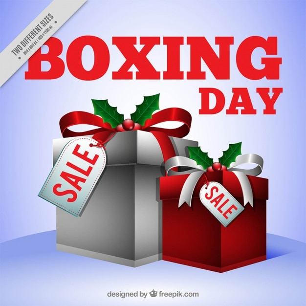 Boxing day background with gift boxes of\ christmas gifts