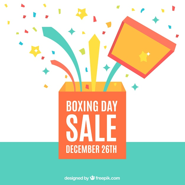 Boxing Day Background With Open Box And Confetti Free Vector