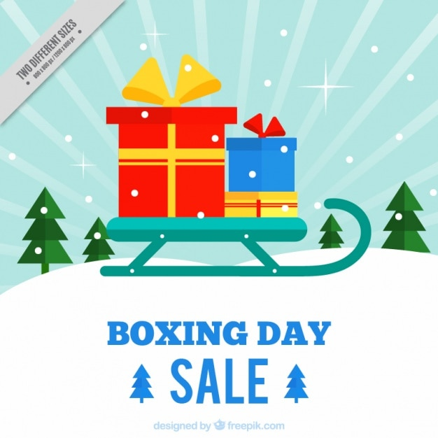 Boxing day background with sled and gifts Free Vector