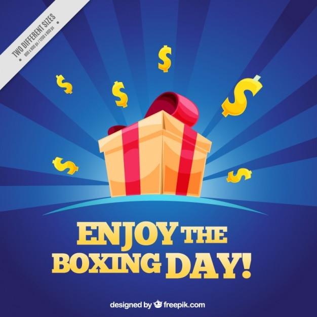 Boxing day background with sunburst effect and\ dollar symbols