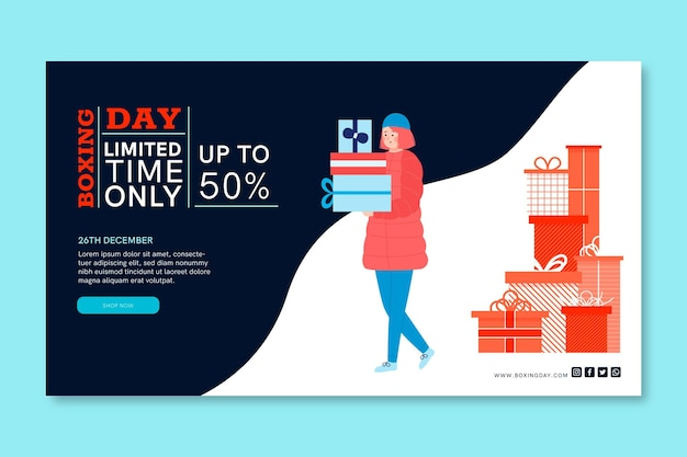 Boxing day banner concept Free Vector