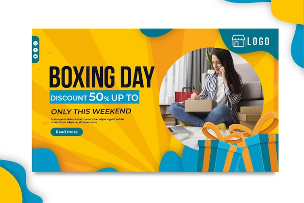 Boxing day banner Free Vector