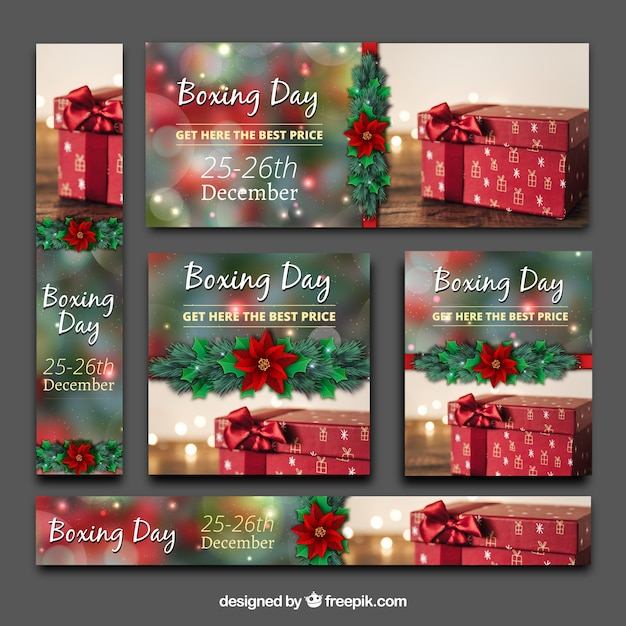 Boxing day banners pack  Free Vector