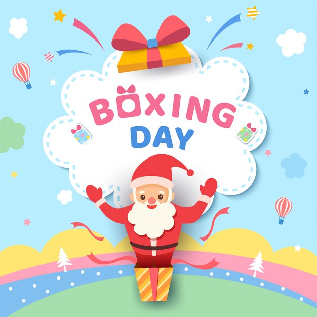 Boxing day design with santa claus in the box on cute pastel color. Premium Vector