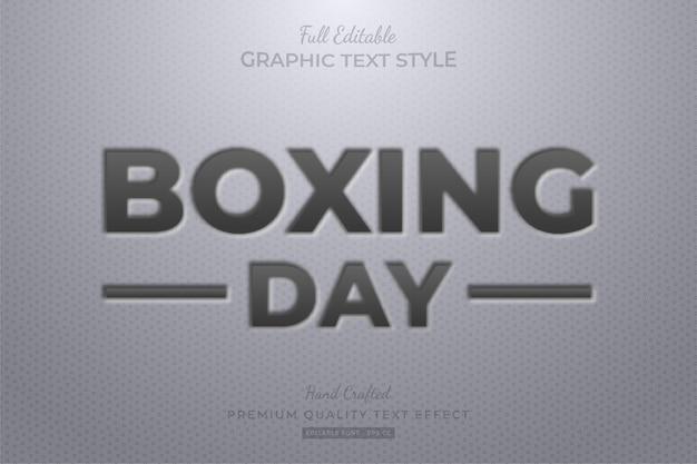 Boxing day embossed editable text style effect premium Premium Vector