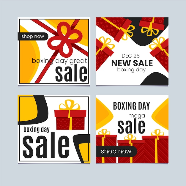 Boxing day instagram post pack Free Vector