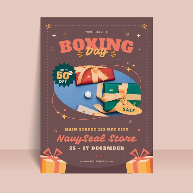 Boxing day poster template Free Vector