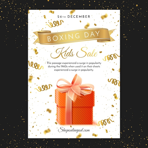 Boxing day print poster template Free Vector