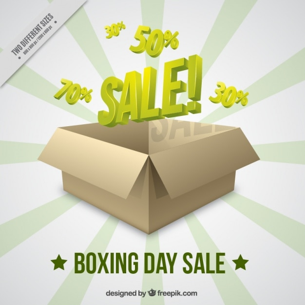 Boxing day sale background with cardboard box