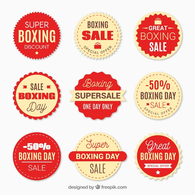 boxing day sale badge in red vector free download