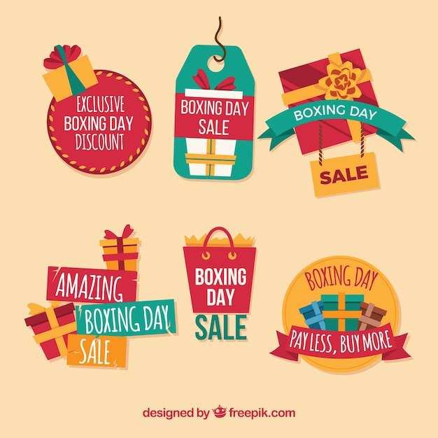 Boxing day sale badge with different shapes Vector | Free Download