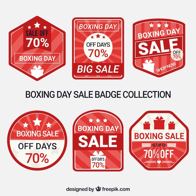 boxing day sale badge with stripes vector free download