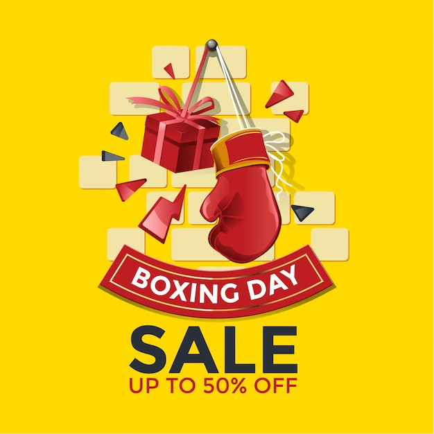 Boxing day sale banner with glove and gift box illustration Premium Vector