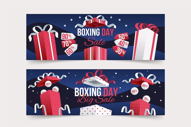 Boxing day sale banners set Free Vector