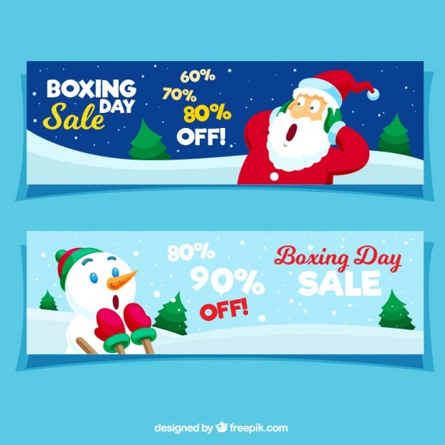 Boxing day sale banners with surprised\ characters
