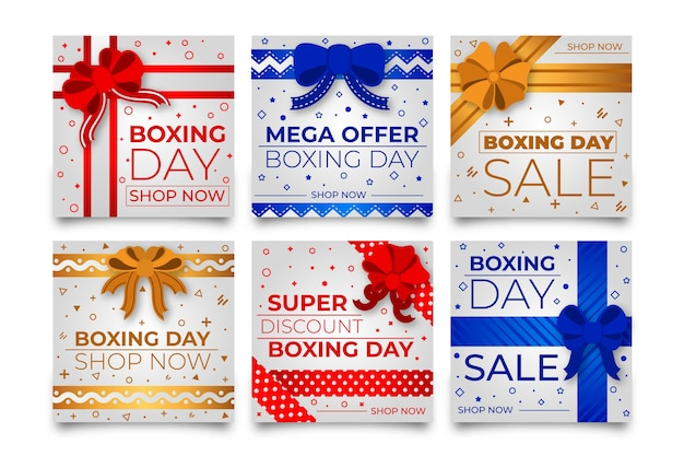 Boxing day sale instagram post collection Free Vector