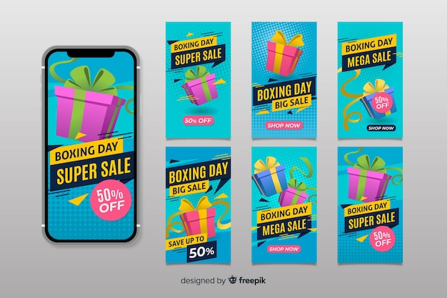 Boxing day sale instagram story collection Free Vector