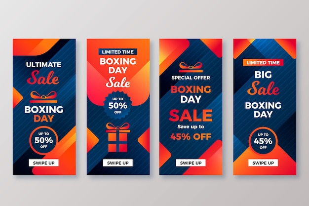 Boxing day sale instagram story collection Premium Vector