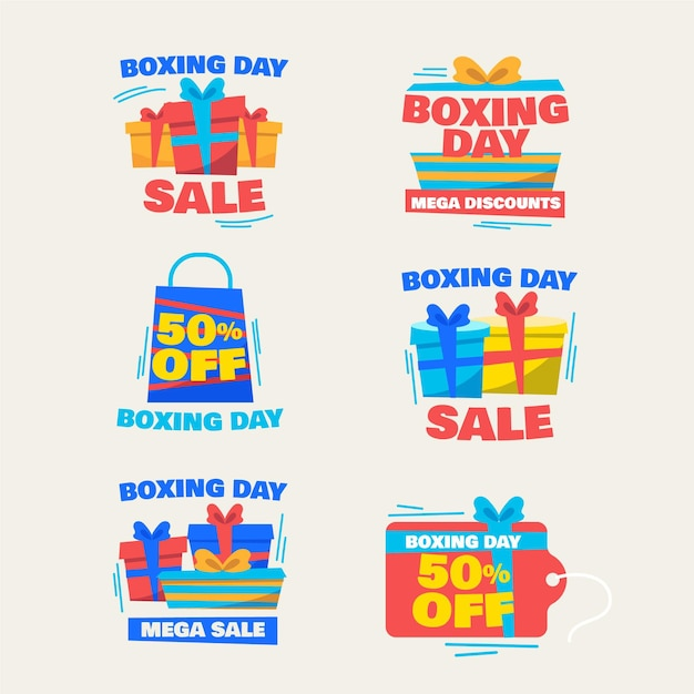 Boxing day sale label collection in falt design Free Vector