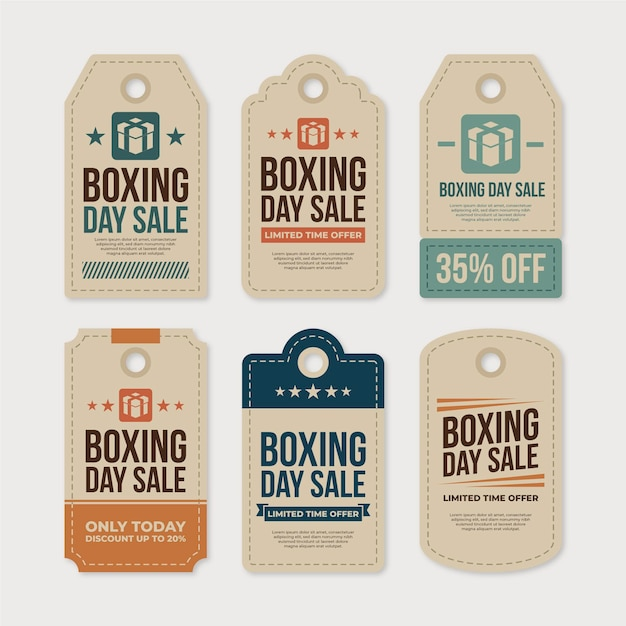 Boxing day sale label collection in flat design Free Vector