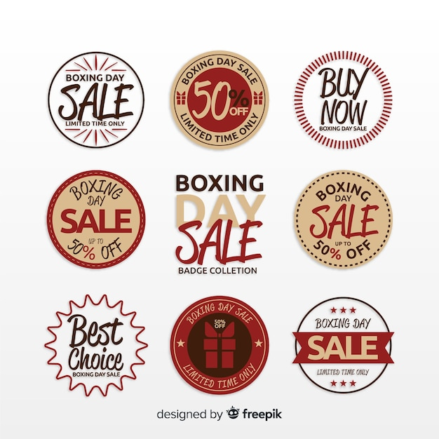 Boxing day sale label collection Free Vector