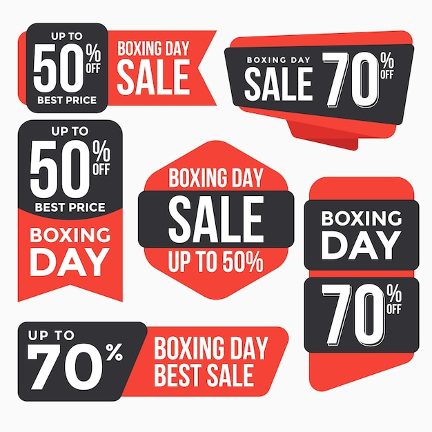 Boxing day sale labels tag collection Premium Vector