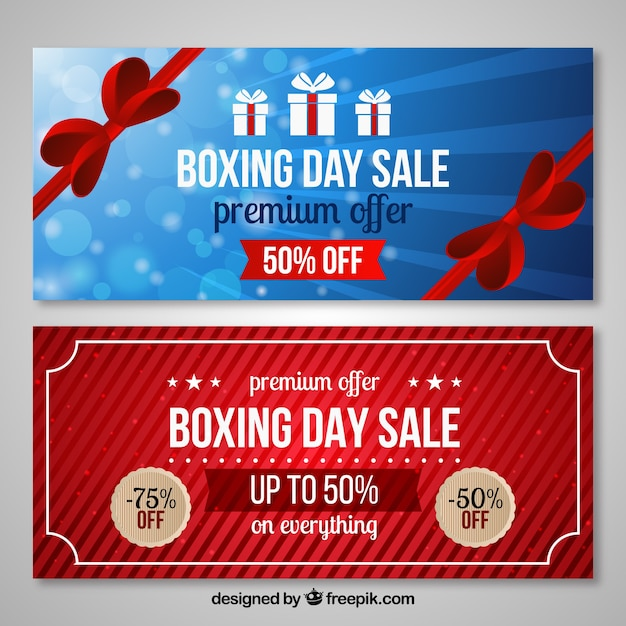 Boxing day sale and premium offer banners Free Vector